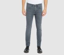 Slim Jeans Tapered ED-85 aus Stretch-Stoff in ausgewaschenem Hellgrau