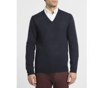 Marineblauer Pullover mit V-Ausschnitt aus Merinowolle