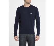Blauer Schurwolle-Pullover Fox