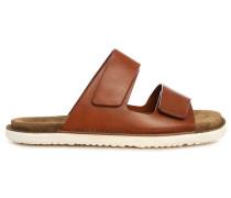 Kamelbraune Veloursleder-Sandalen Sole Leather Strap