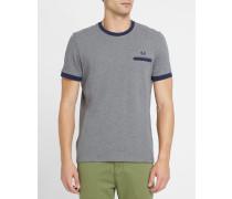 Blau-graues Piqué-T-Shirt mit blauen Kontrasten