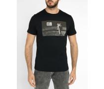 Schwarzes T-Shirt Moon-Print