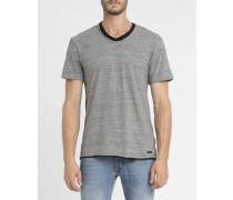 Graumeliertes T-Shirt Batak mit Doppelkragen V-Ausschnitt