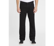 Stretch-Jeans Straight Fit Rochester in Washed-Schwarz
