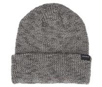 Grau melierte Mütze mit Kontrasten