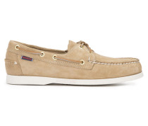 Beigefarbene Schuhe aus Veloursleder Docksides