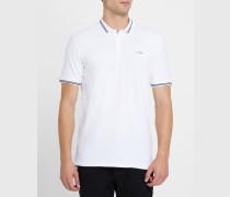 Weißes Slim-Fit-Poloshirt aus Baumwoll-Piqué mit marineblauer Borte und Brustlogo
