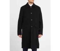 Schwarzer Mantel Car Soft Wool