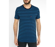 Blau gestreiftes Pocket-T-Shirt