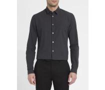 Anthrazitgraues Slim-Hemd mit kleinen Pünktchen