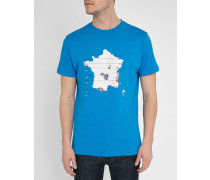 Blaues T-Shirt mit Rundhalsausschnitt mit France Peak-Logo