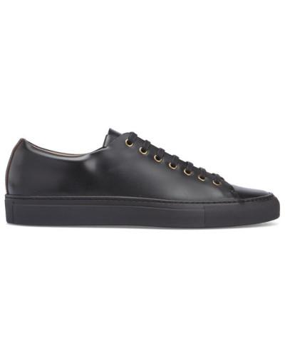 buttero herren einfarbig schwarze sneaker tanino mit futter aus spazziolato leder reduziert. Black Bedroom Furniture Sets. Home Design Ideas