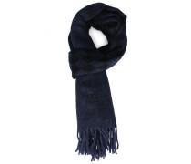 Schal aus Wolle-Kaschmir in Abstufungen von Blau und Schwarz mit Rautenmuster und AC-Logo
