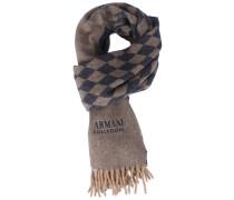Schal aus Wolle-Kaschmir in Abstufungen von Beige und Blau mit Rautenmuster und AC-Logo