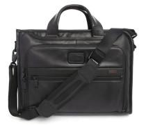 Schwarze Computertasche Alpha, Slim, aus Leder