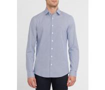 Marineblaues Popeline-Hemd mit weißen Motiven
