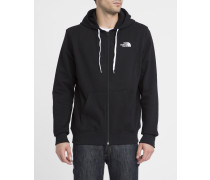 Schwarzer Kapuzensweater mit Reißverschluss und Brustlogo