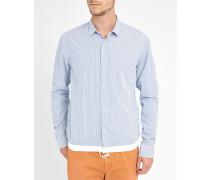 Gestreiftes elastisches Popeline-Hemd mit Druckknöpfen