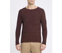 Braun melierter Rundhalspullover aus gestrickter Baumwolle 6293