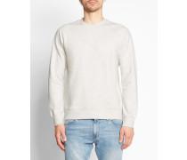 Weiß-ecru gebürstetes Sweatshirt mit Rundhalsausschnitt und Raglanärmeln