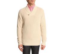 Pullover beige mit Mischstruktur und Schalkragen