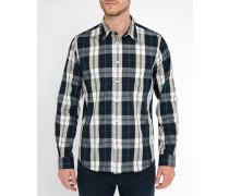 Weiß-blau kariertes Popeline-Hemd Tailored