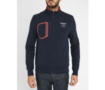 Schwarzes Sweatshirt mit Reißverschluss Aston Martin