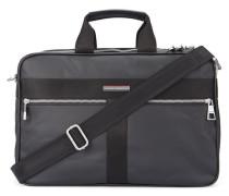 Schwarze Aktentasche Briefcase Darren aus beschichtetem Stoff mit zwei Reißverschlüssen