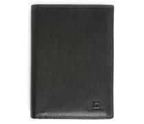 Portemonnaie aus schwarzem Leder mit Reißverschluss-Tasche und 11 Fächern Touraine