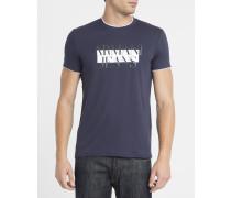 Marineblaues T-Shirt mit doppeltem Rundhalsausschnitt und aufgdrucktem AJ-Logo