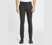 Anthrazitgraue Slim-Fit-Hose aus Wolle mit kleinem Hahnentrittmuster