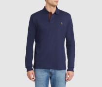 Langärmeliges marineblaues Poloshirt Pima aus Jersey
