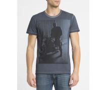 Washed-marineblaues T-Shirt mit Rundhalsausschnitt und Fotoaufdruck