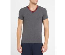 Graues T-Shirt mit V-Ausschnitt und Armani-Logo