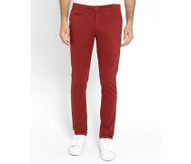 Bordeauxrote Slim-Chino-Hose in Stretch