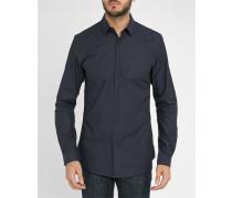 Marineblaues Slim-Hemd mit Pünktchen, Marineblauer Kragen