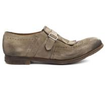 Beigefarbene Richelieu-Schuhe Shanghai Vintage aus Veloursleder