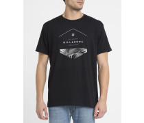 Schwarzes T-Shirt mit Spalt-Sechseck-Logo