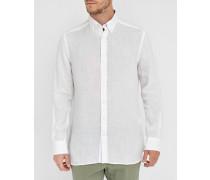 Weißes Slimfit-Leinenhemd Plain Linen