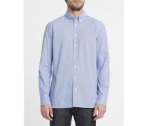 Blaues Slimfit-Hemd mit Mini-Blumenmotiv und Button-Down-Kragen