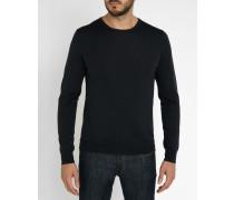 Grauer Pullover aus Merinowolle mit Rundhalsausschnitt