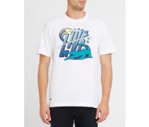 Weißes T-Shirt mit Live-Aufdruck Pr