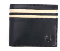 Marineblaues paspeliertes Portemonnaie aus Narbenleder