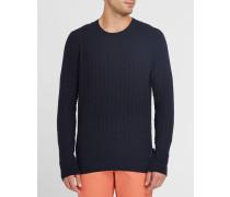 Grafischer Pullover Saymore aus Wolle in Marineblau