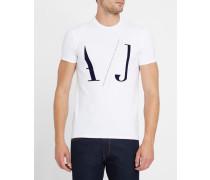 Weißes T-Shirt mit Rundhalsausschnitt und AJ-Logo