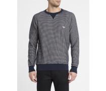 Blau-weißes Waffelstrick-Sweatshirt mit Trikolore-Aufnäher