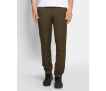 Chino-Hose Slim Tapered Stretch Sid Lamar in Washed-Olivgrün