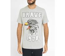 Graues T-Shirt mit Rundhalsausschnitt und Adler-Print Joe-H