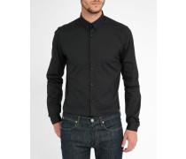Slim-Hemd aus schwarzer Popeline