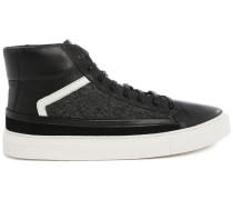 Hochschließende Sneaker aus zwei Materialien Flanell grau und schwarz Pitbull